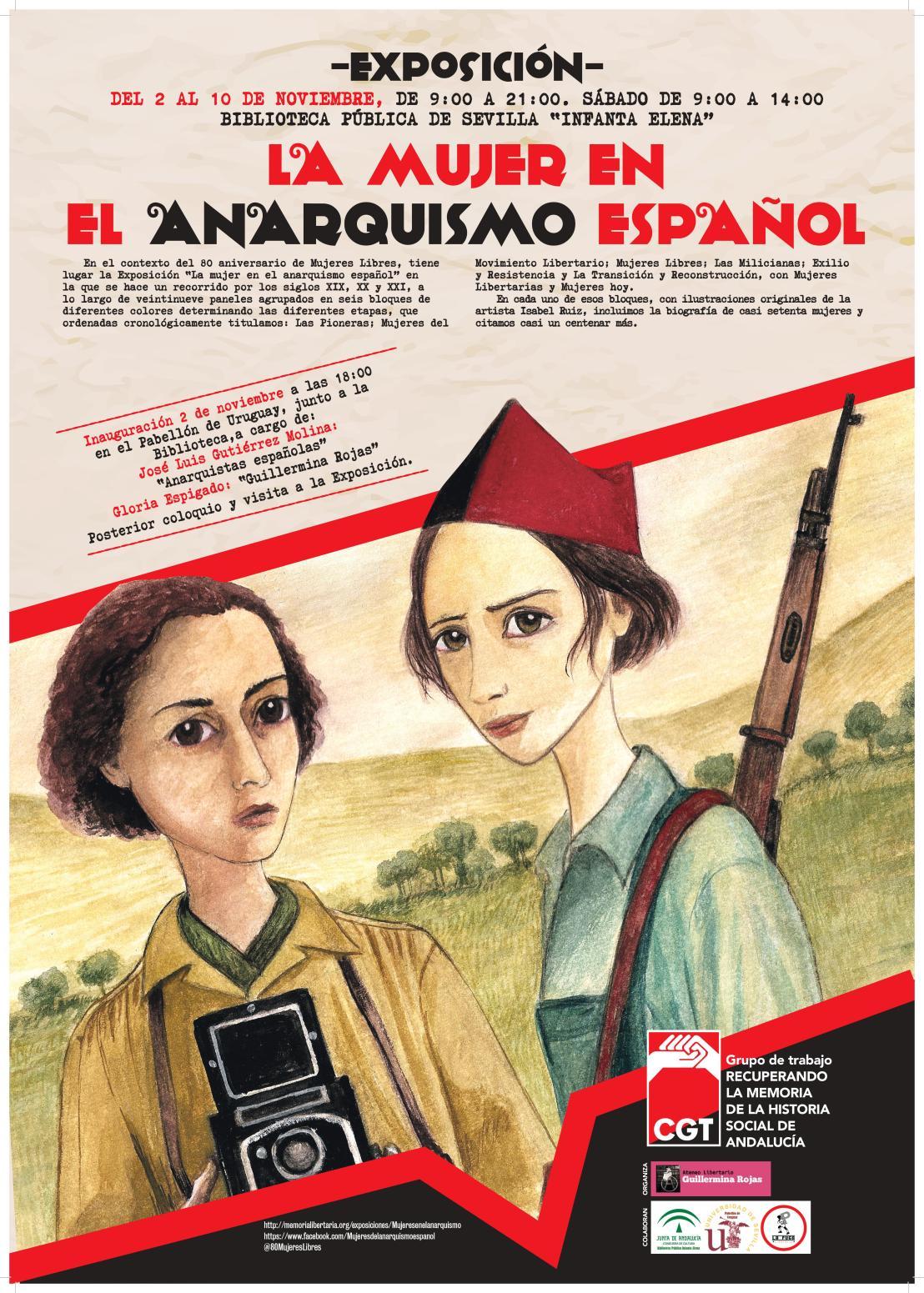 """Exposición """"La mujer en el anarquismo español"""", del 2 al 10 de noviembre en la BibliotecaPública."""