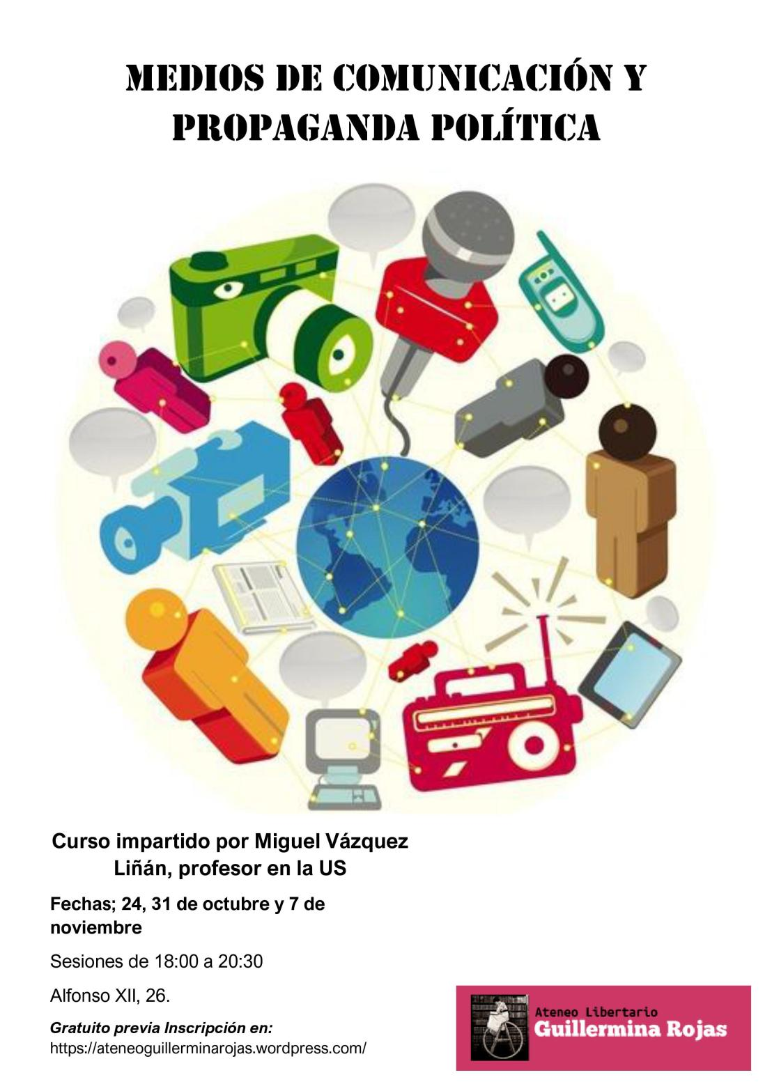 """Curso """"Medios de comunicación y propaganda política"""" por Miguel Vázquez Liñán, profesor de la Universidad deSevilla."""