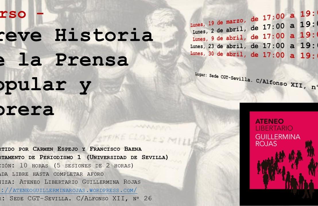 """NUEVO CURSO    El 19 de marzo comienza el curso """"Breve Historia de la prensa popular yobrera"""""""