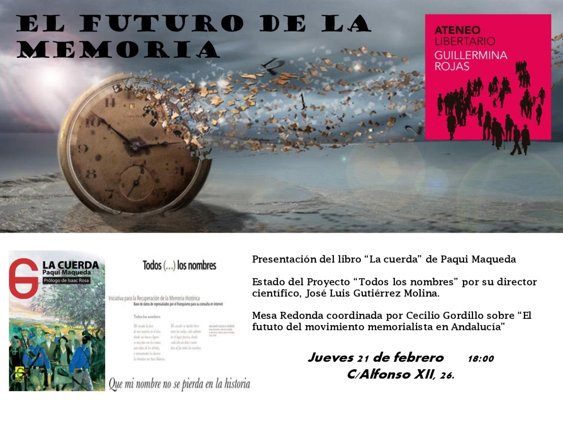 El Ateneo libertario Guillermina Rojas y Orgis organiza un debate sobre el futuro de la memoria histórica enAndalucía